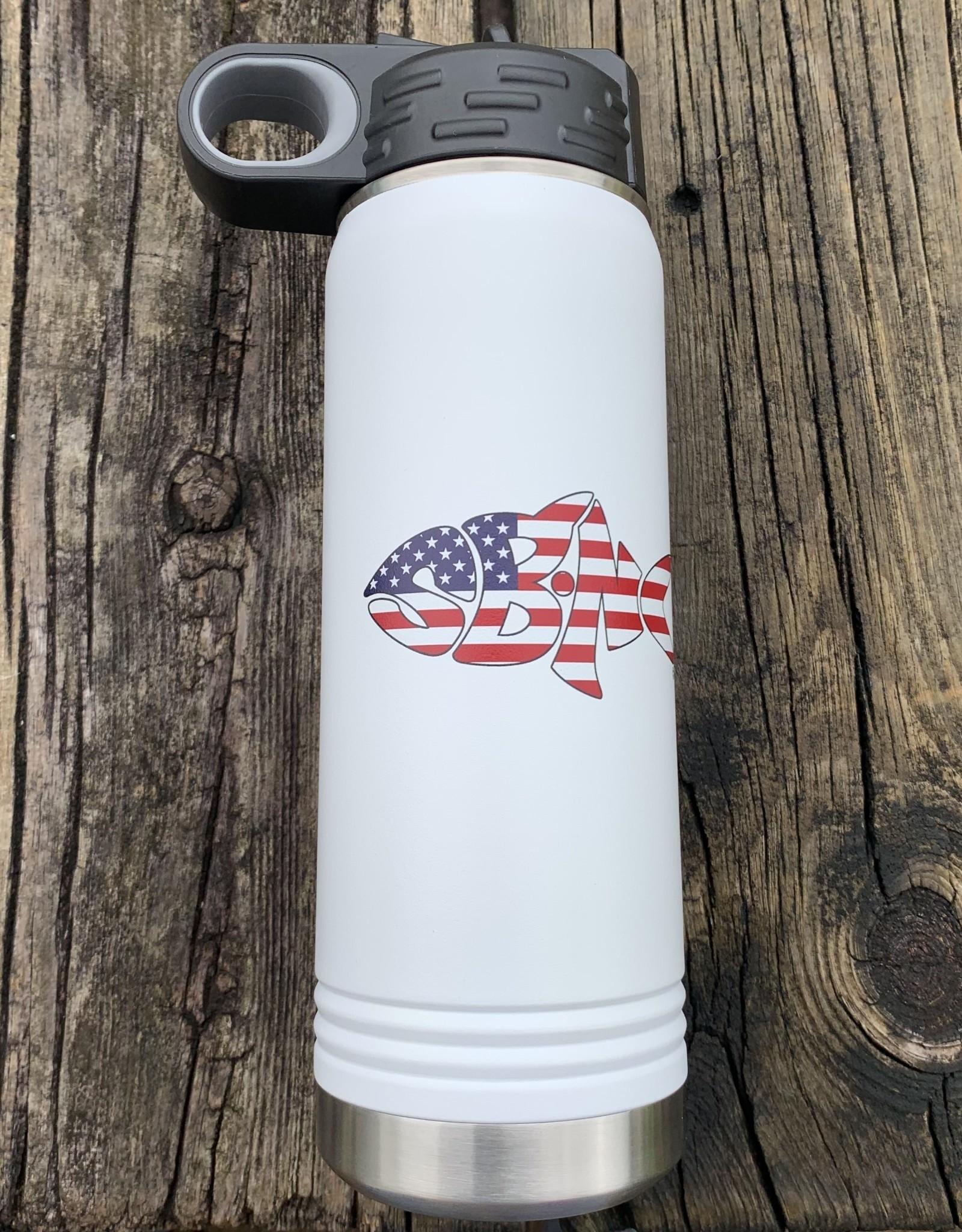 sbncfish SBNC FISH  20oz WHITE STRAW BOTTLE USA FLAG