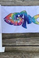 sbncfish SBNC FISH CAR FLAG RAINBOW TIE-DYE