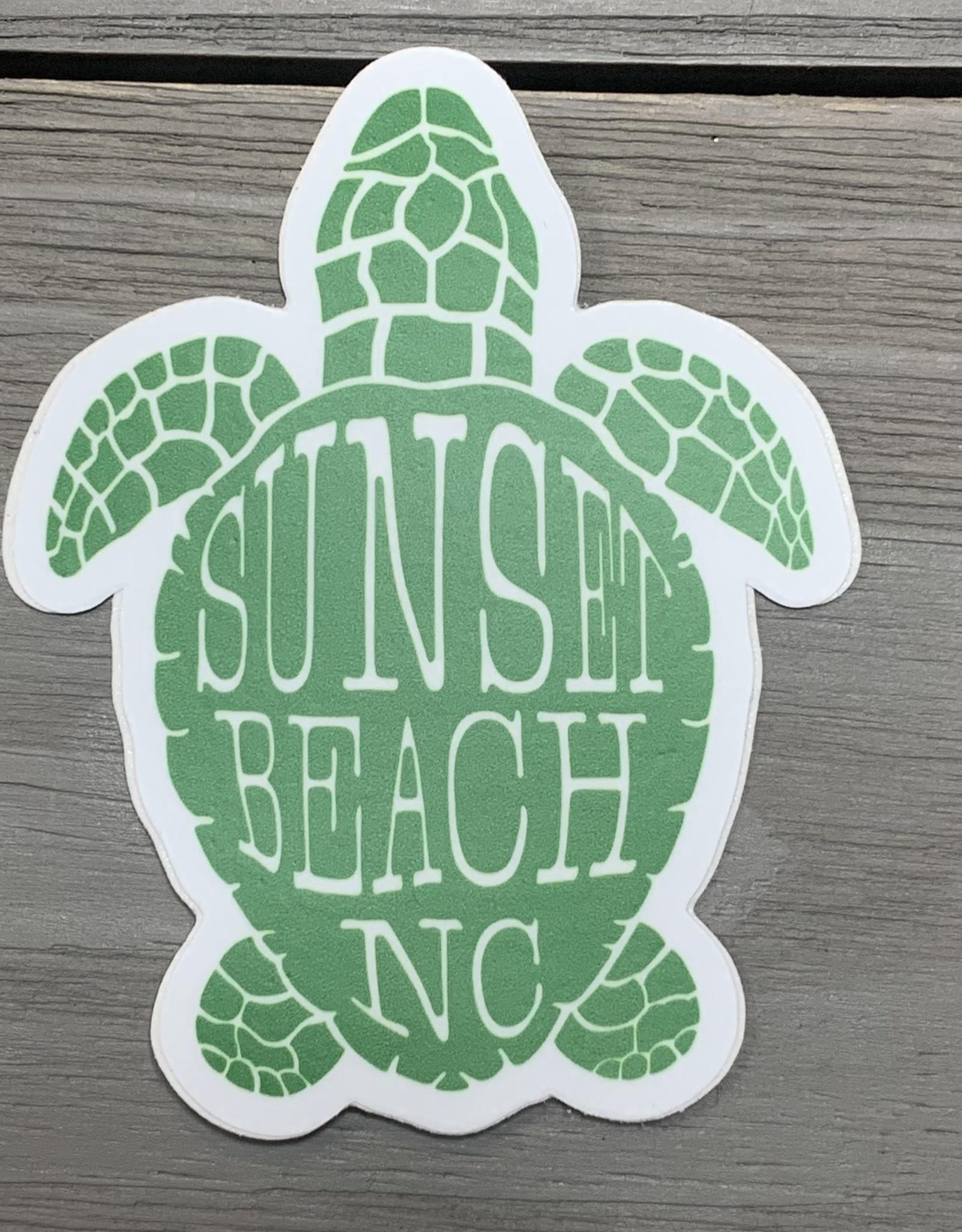 STICKER (S) SUNSET BEACH NC SEA TURTLE SHELL