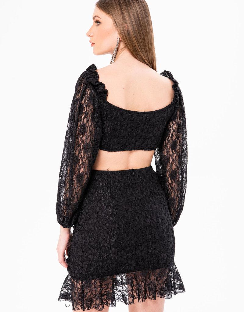 Ivory Sheep Black Magik Mini Skirt