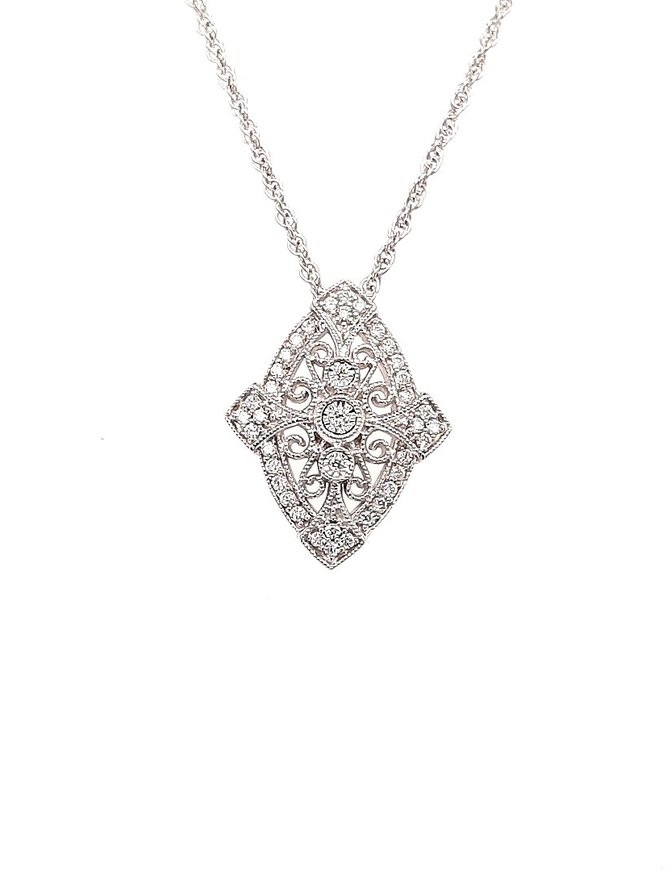 Diamond (0.20 ctw) vintage style pendant, 14k white gold, chain included