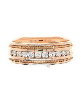 Men's diamond (0.46 ctw) beaded edge band, 14k yellow gold