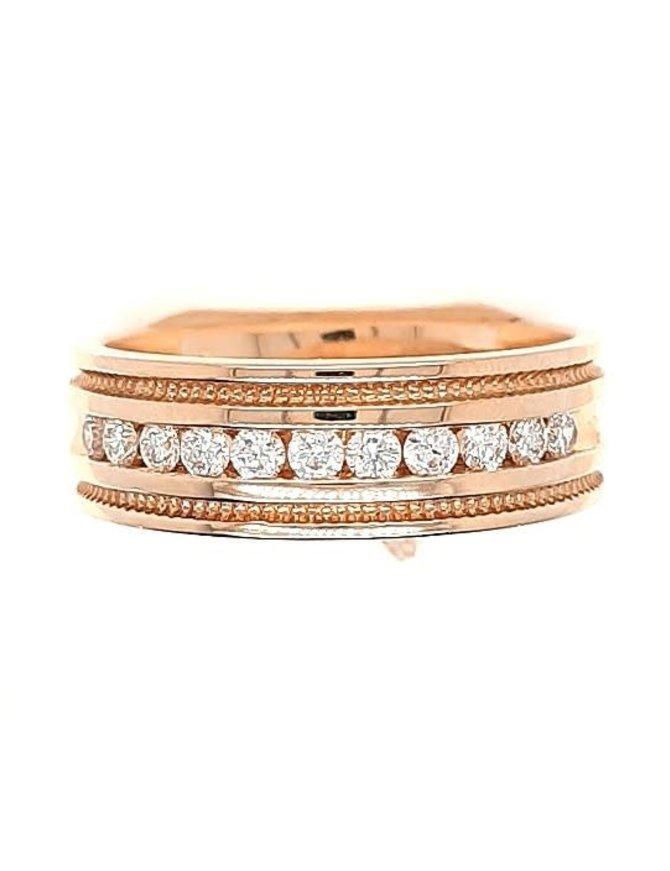 Diamond (0.46 ctw) beaded edge band, 14k yellow gold