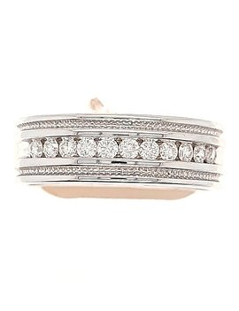 Diamond (0.46 ctw) beaded edge, white gold