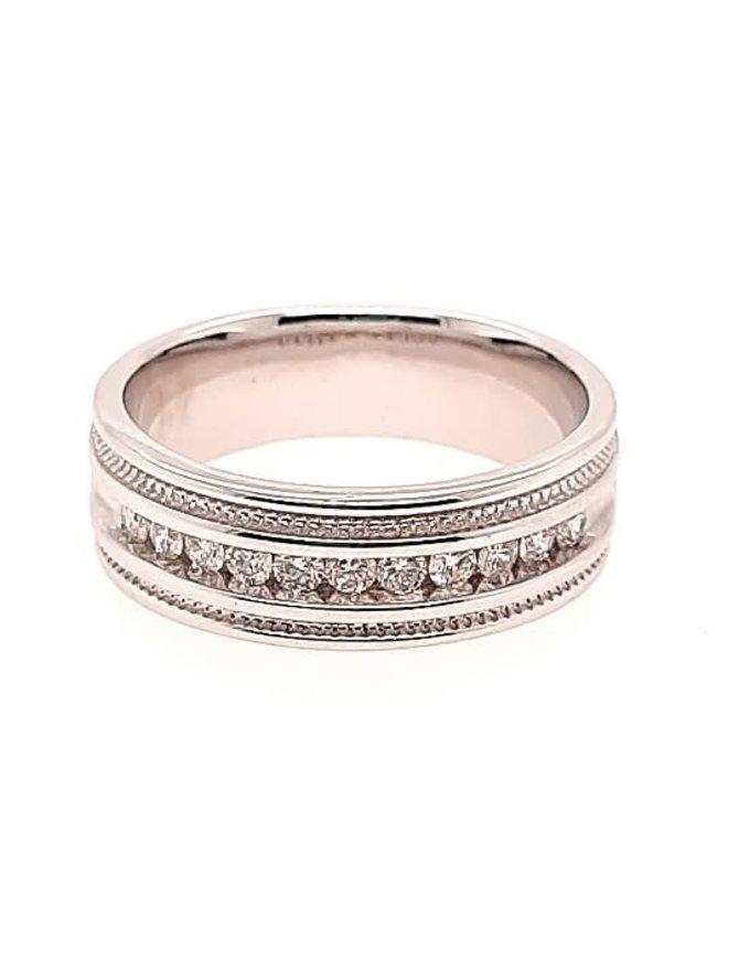 Diamond (0.46 ctw) beaded edge, white gold