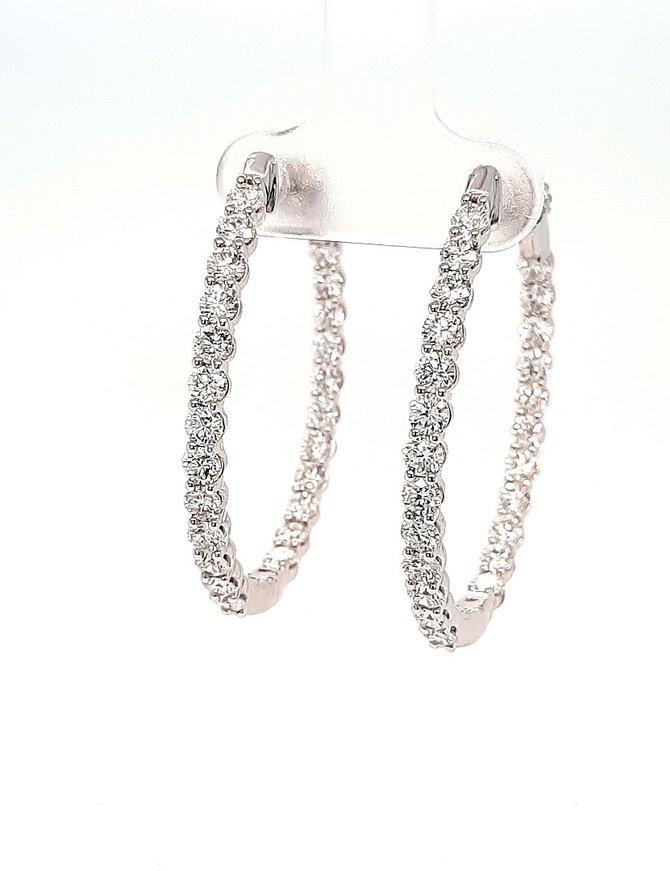 Diamond inside/out oval hoop earrings, 14k white gold