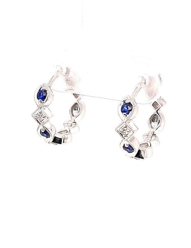Sapphire (0.20 ctw) & diamond (0.05 ctw) hoop earrings, 14k white gold