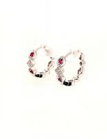 Ruby (0.20 ctw) & diamond (0.05 ctw) hoop earrings, 14k white gold