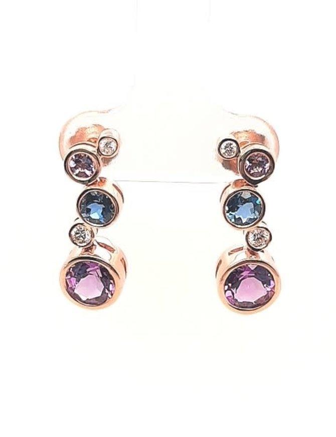Diamond (0.13 ctw), blue topaz & amethyst (2.17 ctw) bezel set earrings, 14k rose gold