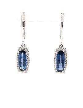 London blue topaz (2.10 ctw) & diamond (0.18 ctw) dangle earrings, 14k white gold