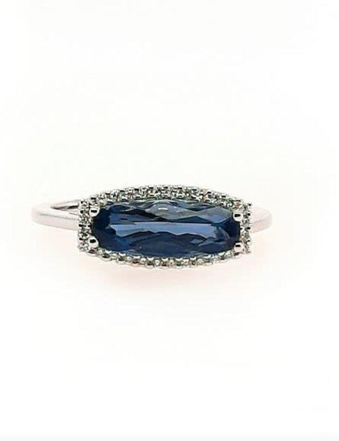 London blue topaz (1.79 ct) & diamond (0.11 ctw) ring, 14k white gold