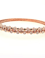 2-row diamond (0.50 ctw) bangle bracelet, 14k rose gold