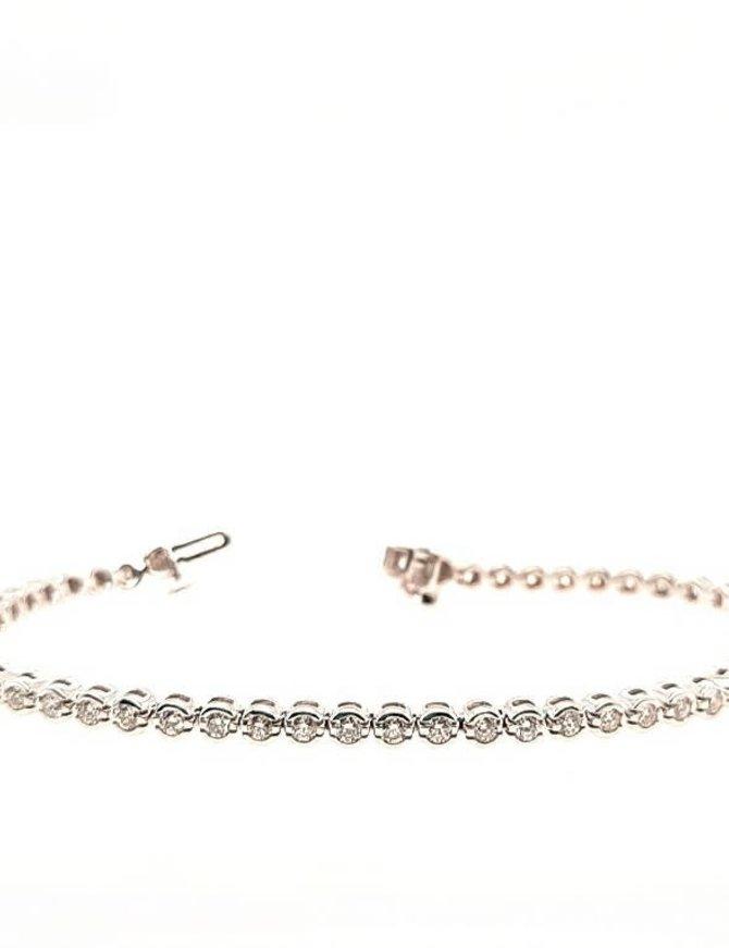 Diamond (2.00 ctw) bezel set tennis bracelet, 14k white gold 8.8 grams