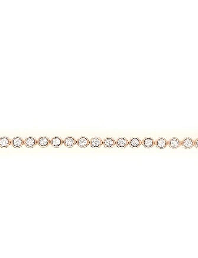 Diamond (1.00 ctw) bezel set tennis bracelet, 14k yellow gold
