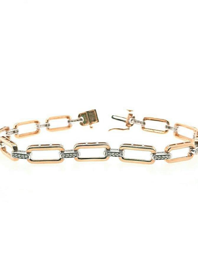 Diamond (0.25 ctw) gold link bracelet, 14k yellow gold 10.6 gram