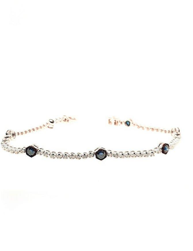 Blue (0.93 ctw) & white (0.69 ctw) diamond  bracelet, 14k white gold