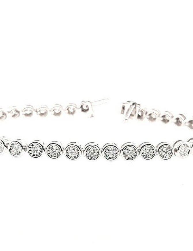 Diamond (2.00 ctw) bezel set tennis bracelet, 14k white gold