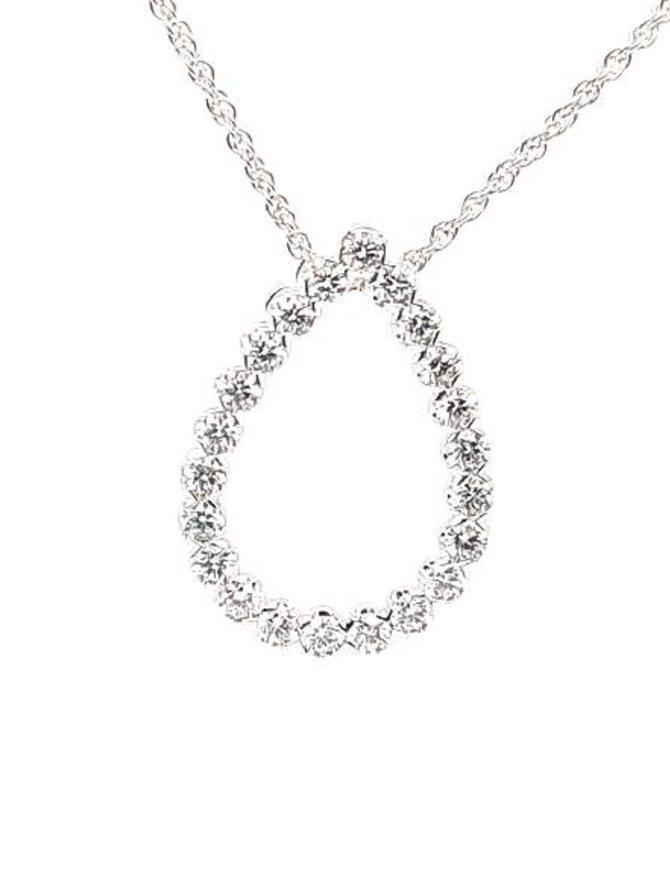 1.00ctw diamond open pear shape pendant 14k white gold