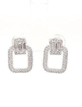 0.97ctw diamond rectangle dangle earrings 14k white gold
