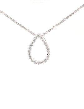 Diamond(0.50ctw) tear drop necklace, 14k white gold