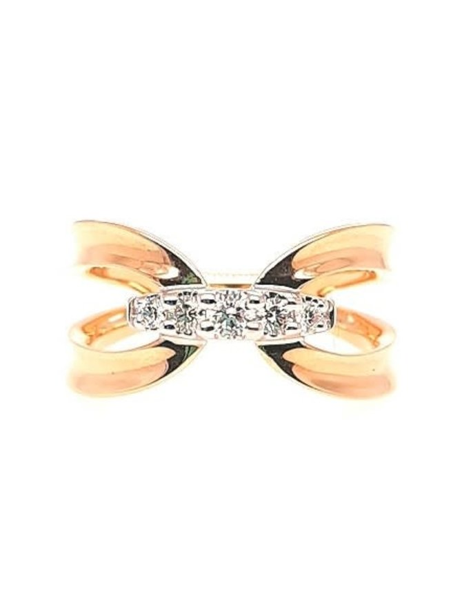Diamond (0.20 ctw) fashion ring, 14k yellow gold