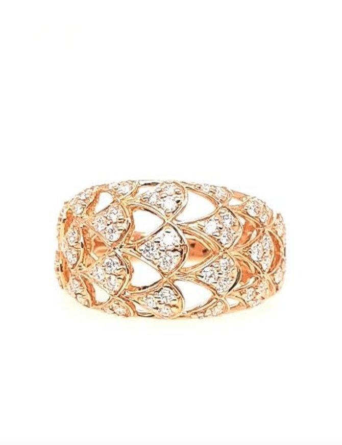 Diamond (0.65 ctw) open work band, 14k yellow gold