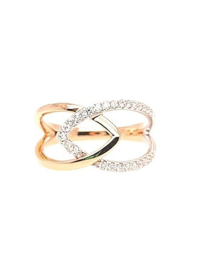 Diamond (0.20 ctw) spire ring, 14k white & yellow gold