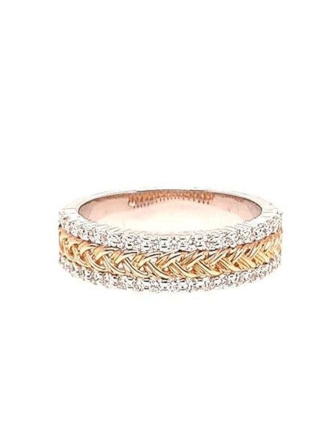 Diamond (0.50 ctw) braided band, 14k white & yellow gold