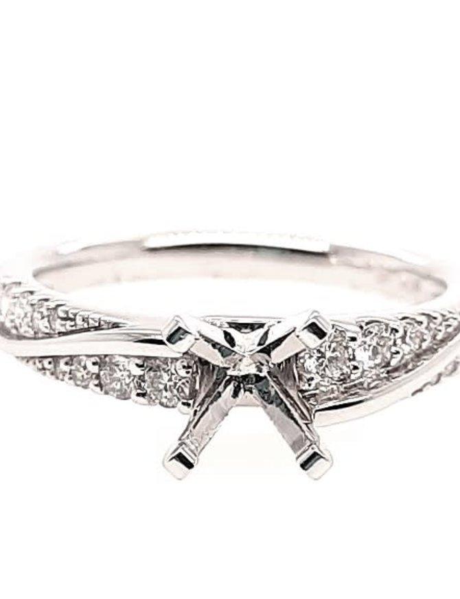 Diamond (0.24 ctw) setting, 14k white gold, center stone not included