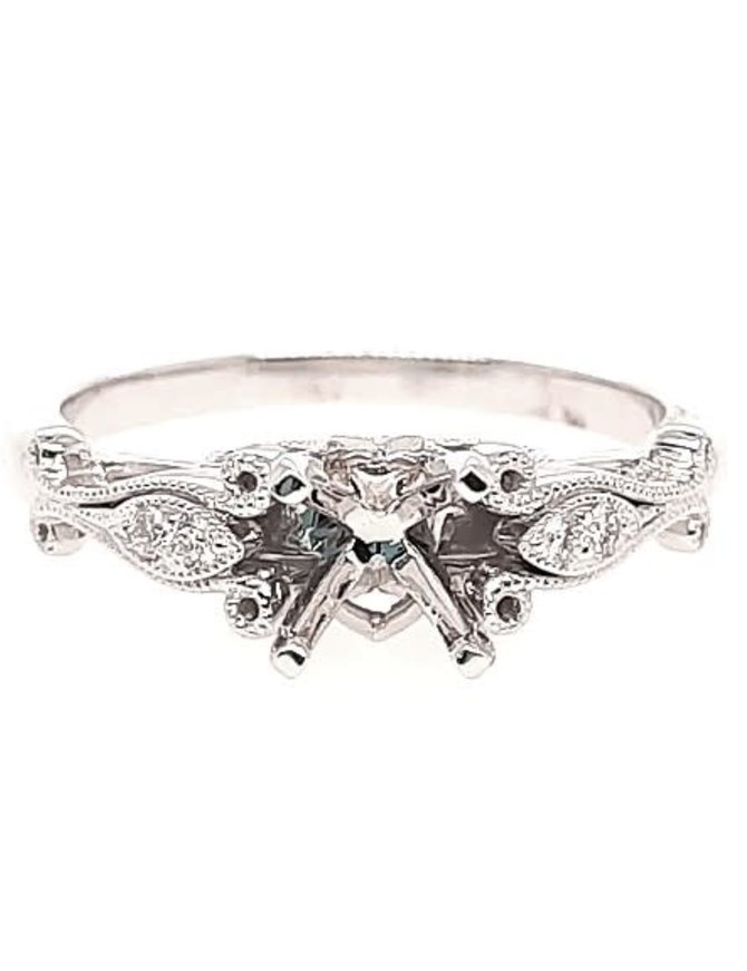 Diamond (0.05 ctw) antique style setting, 14k white gold, center stone not included