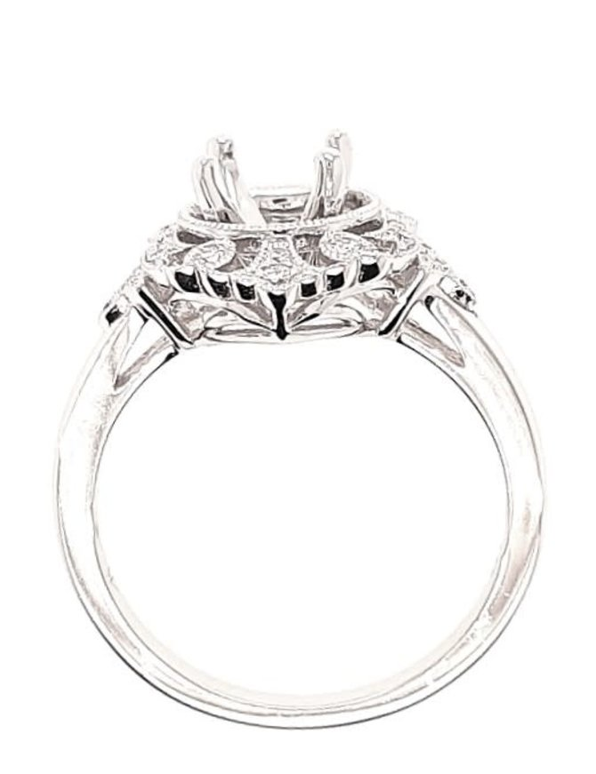Diamond (0.15 ctw) antique style halo setting, 14k white gold, center stone not included