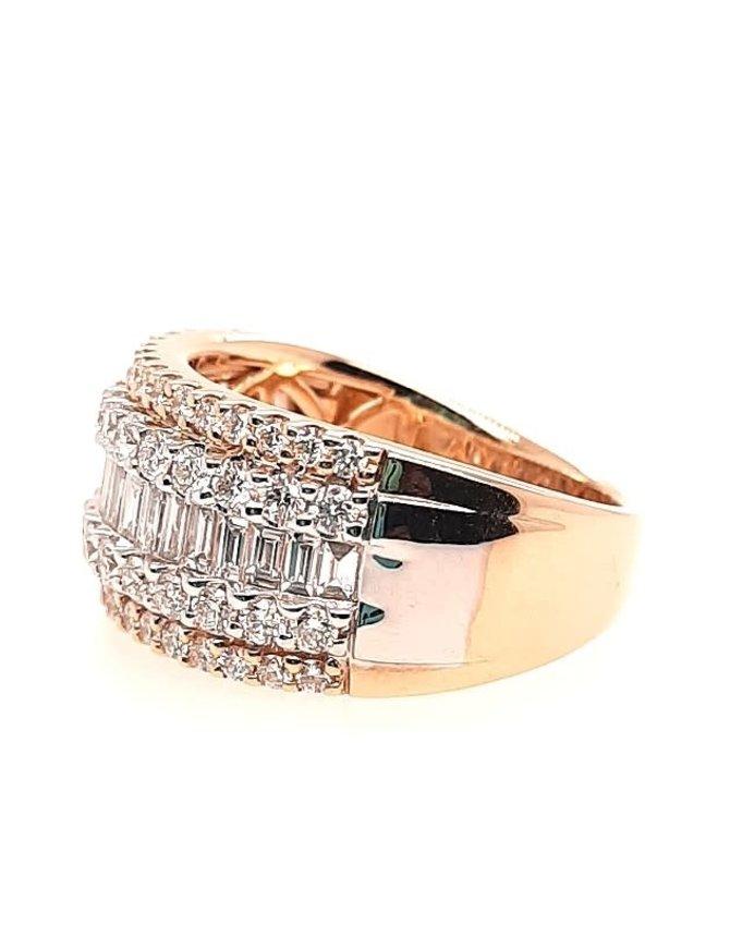 Round & baguette diamond (1.50 ctw) band, 14k yellow gold