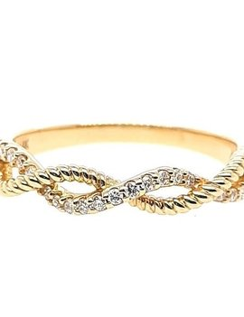 Diamond (0.12 ctw) beaded twist band, 14k yellow gold