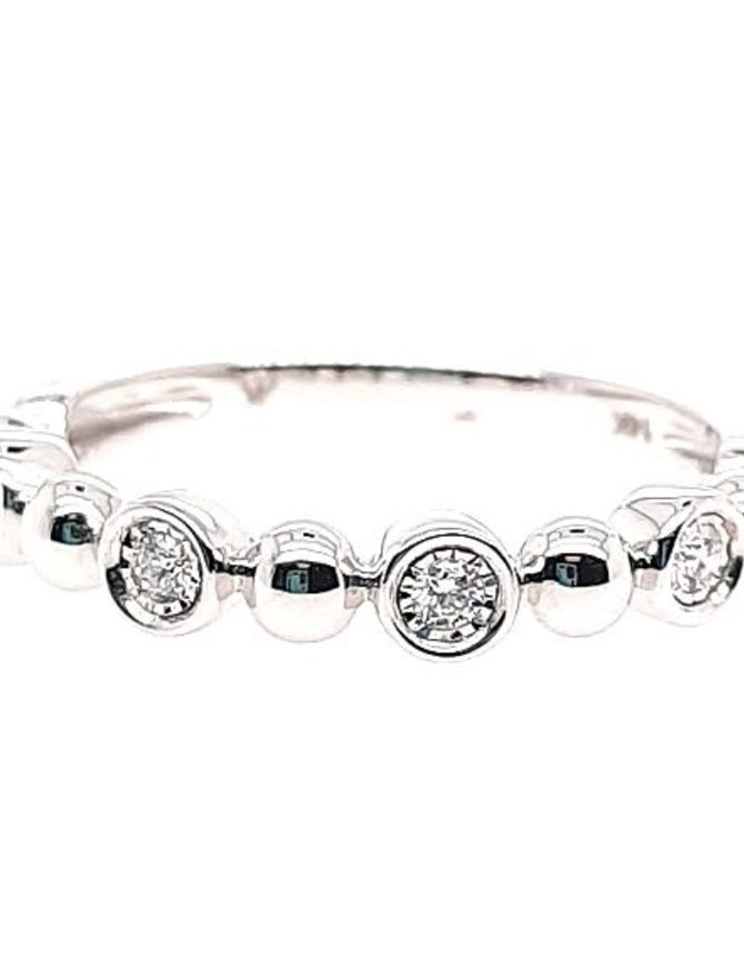 Diamond (0.08 ctw) bezel set & bead band, 14k white gold