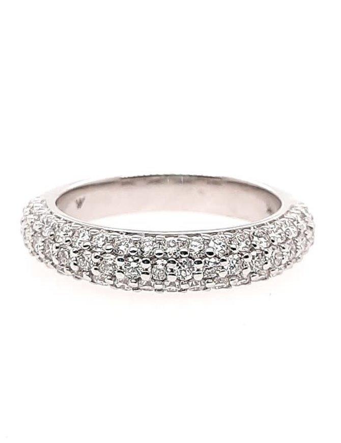 3-row diamond (1.00 ctw) band, 14k white gold