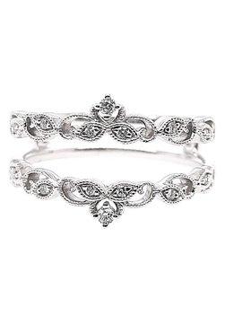 Diamond (0.08 ctw) tiara-look guard ring, 14k white gold
