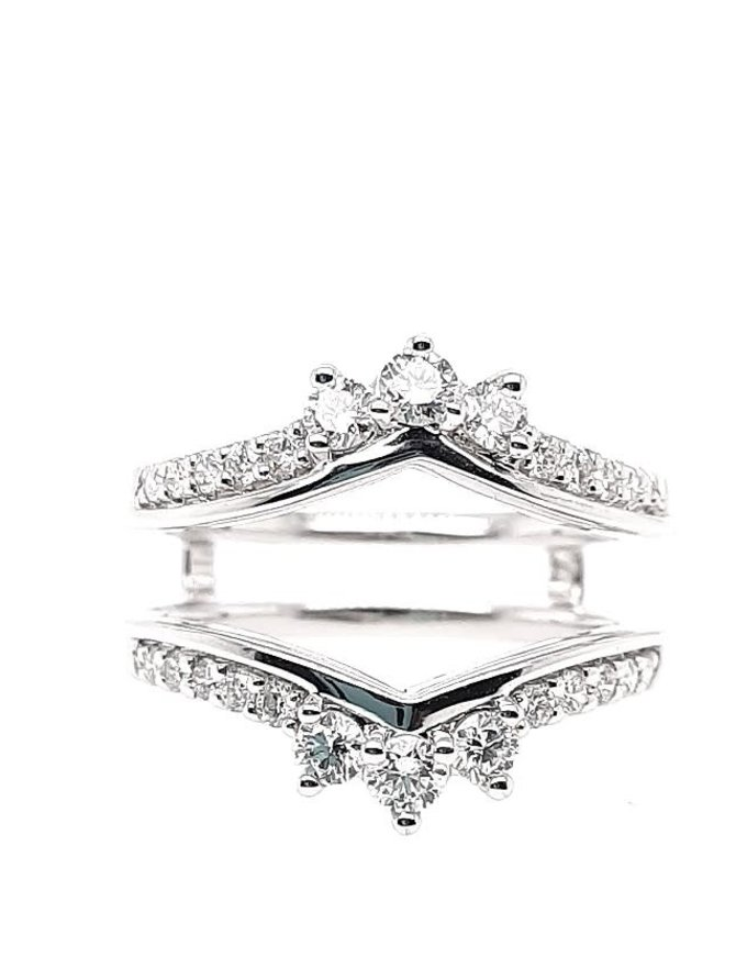 Diamond (0.68 ctw) guard band, 14k white gold