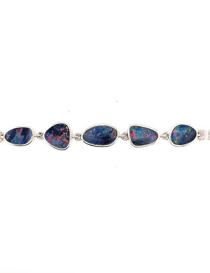 Opal doublet adjustable bracelet, sterling silver