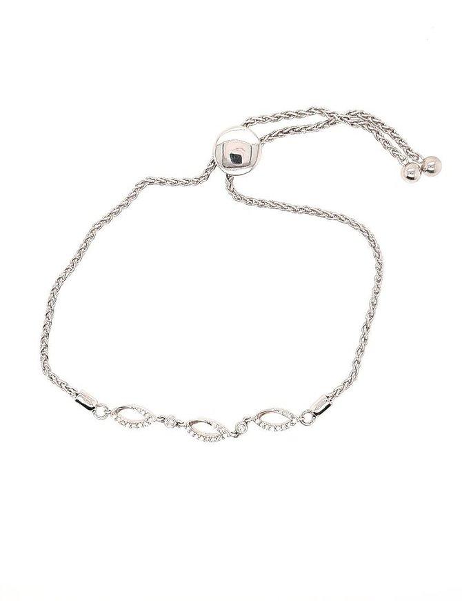 Diamond (0.17 ctw) bolo bracelet, sterling silver