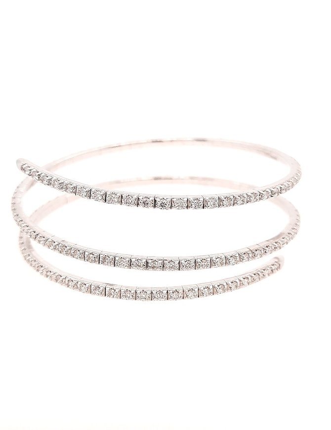 Diamond (3.00 ctw) flexible wrap bracelet, 14k white gold 19.6 gram