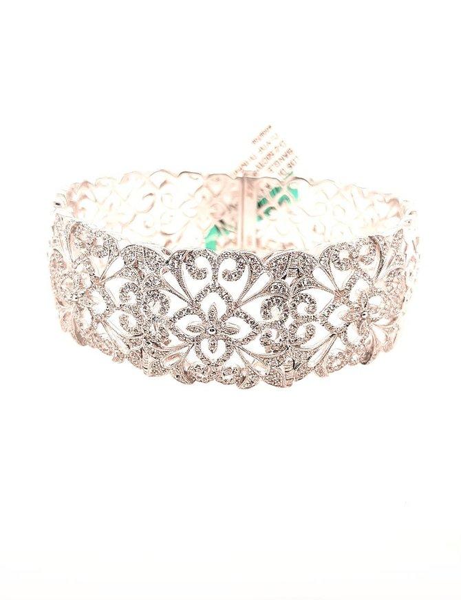 Fancy diamond (2.50 ctw) cuff bracelet, 14k white gold