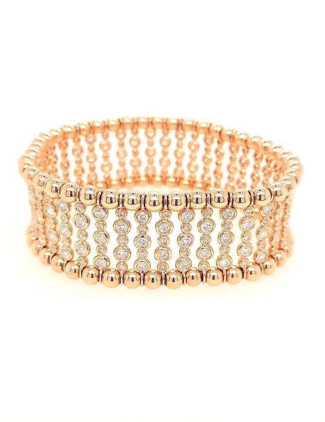 Diamond (5.00 ctw) stretch bracelet, 18k yellow gold
