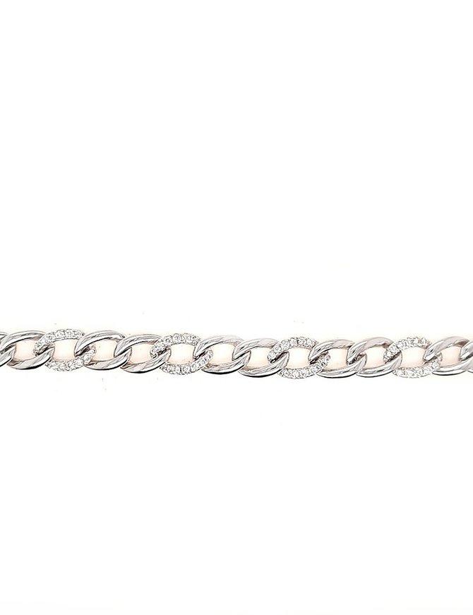 Diamond (0.70 ctw) cuban link bracelet, 14k white gold