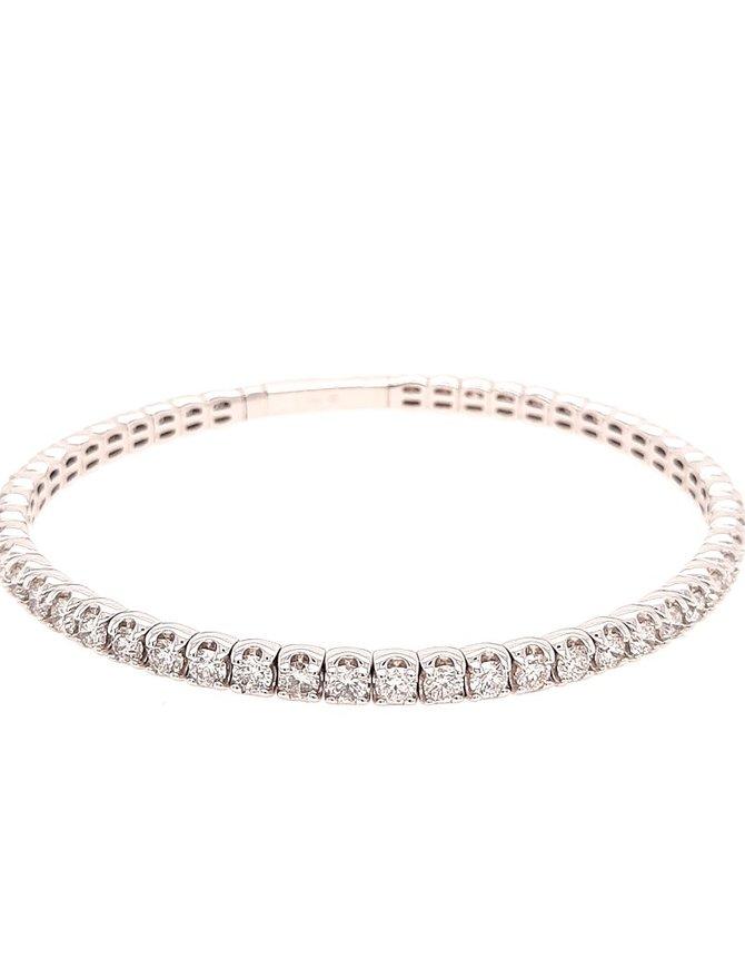 Diamond (4.03 ctw) flexible tennis bracelet, 14k white gold