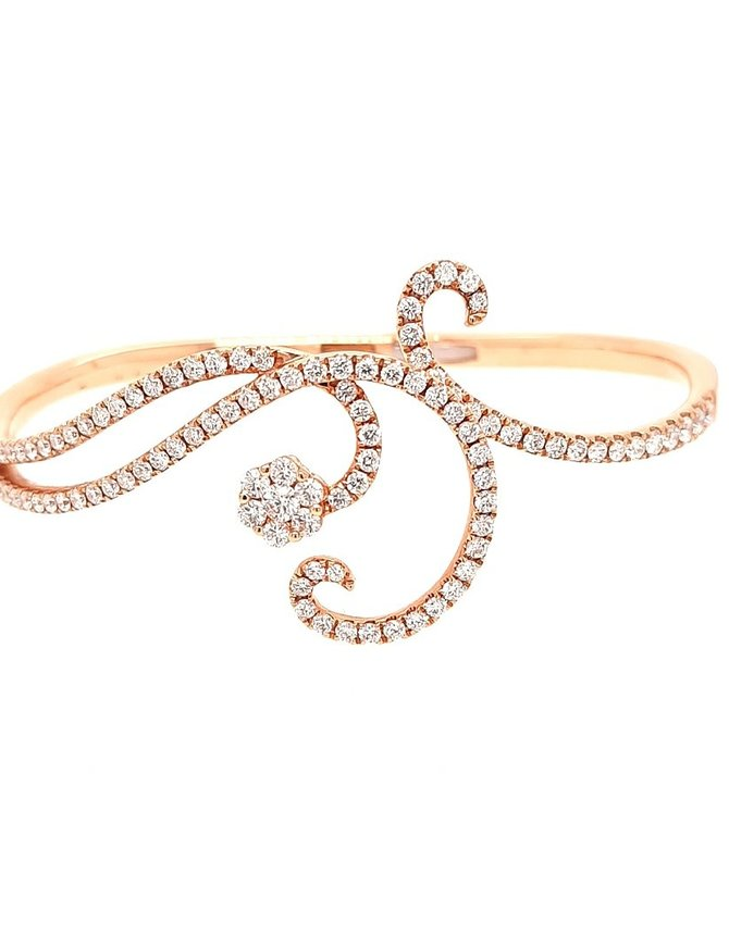 Fancy diamond (2.61 ctw) swirl bangle bracelet, 18k rose gold