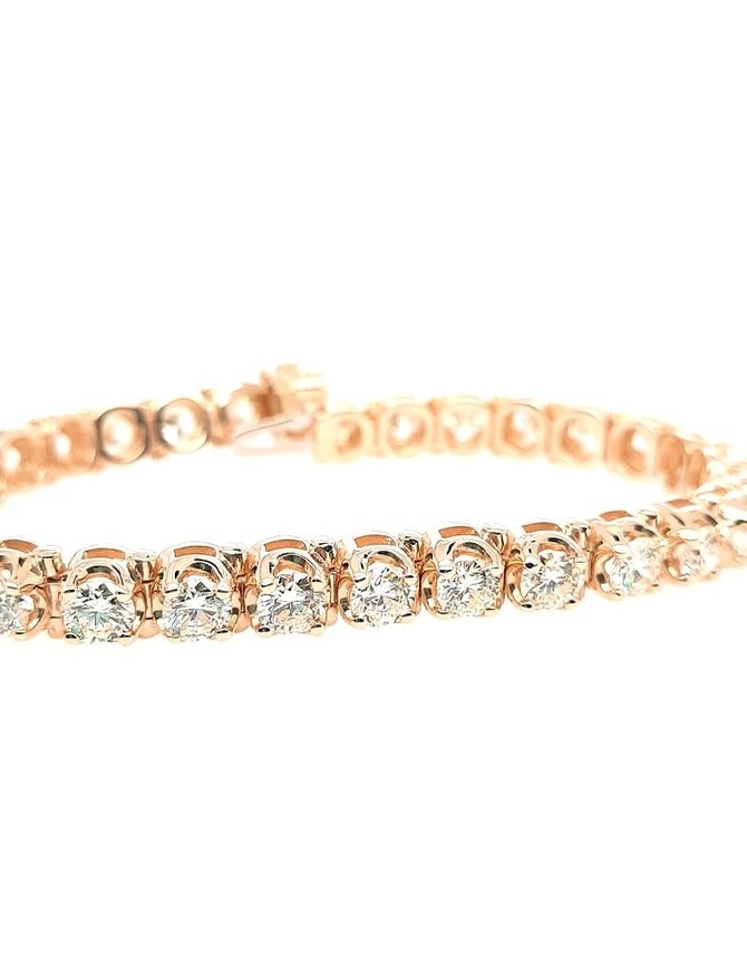 Diamond (9.61 ctw) tennis bracelet, 14k yellow gold