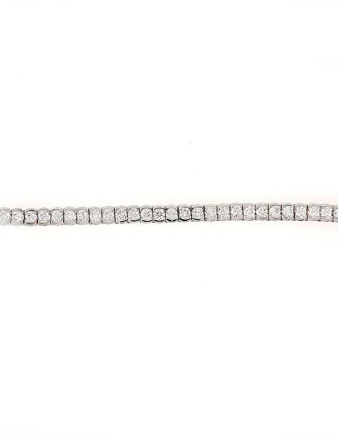 Diamond (5.70 ctw) bezel set tennis bracelet, 18k white gold