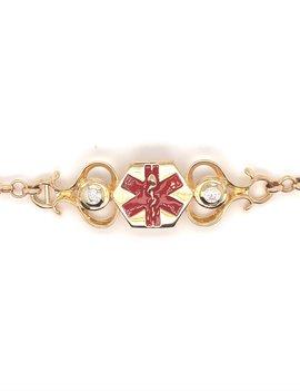 Quinn's cz medic alert toggle bracelet, 14k yellow gold & enamel