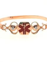 Quinn's cz medic alert cuff bracelet, 14k yellow gold & enamel