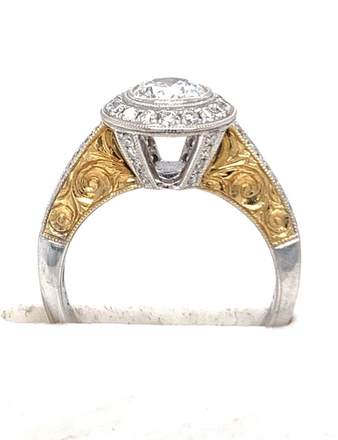 Diamond (0.70 ct center E/SI, 1.08 ctw) halo scroll engagement ring, 18k white & yellow gold